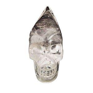 Crânio Alien em Cristal Quartzo Transparente 377gr *Qualidade Extra*