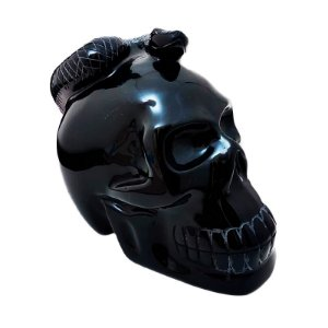 Crânio em Obsidiana com Serpente 2,033Kg