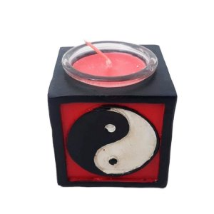 Vela com suporte Yin Yang