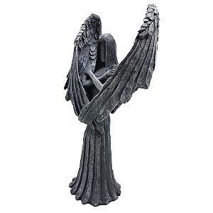 Anjo Negro Guardião Castiçal