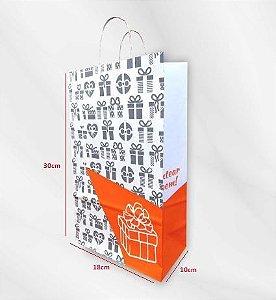 Sacola Impressa de Papel Kraft Branco 110g - 100 Unidades