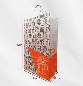 Sacola Impressa de Papel Kraft Pardo 110g - 100 Unidades