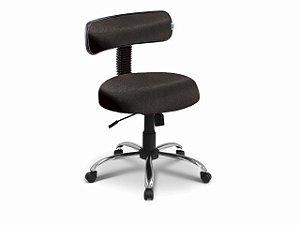 Cadeira Mocho - Com Encosto - Base Cromada - Arktus preto