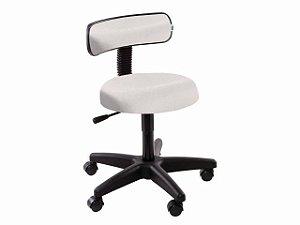 Cadeira Mocho com Encosto - 5010 - Base Preta - Arktus branco