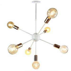 Lustre Pendente para 7 lâmpadas - Sputnik - Branco com Cobre