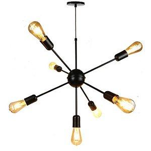 Lustre Pendente para 7 lâmpadas - Sputnik - Preto