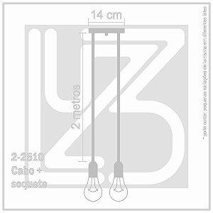 Lustre Aranha com 2 Pendentes  (2 m cabo preto + soquetes + canopla)