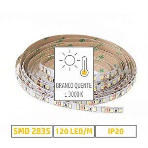 Fita LED 2835 - 3000K - Branco Quente - 5m
