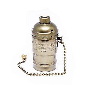 Soquete Vintage com Corrente - Bocal E27 - COBRE ESCOVADO