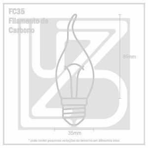 Lâmpada Filamento de Carbono VELA - FC35 - 127V