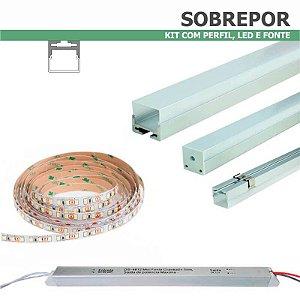Kit Perfil SOBREPOR 1m + Fita LED + Fonte