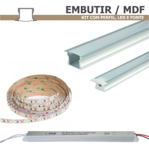 Kit Perfil EMBUTIR MDF 1m + Fita LED + Fonte