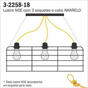 Lustre Aramado NOE - 3 Cabos Amarelos