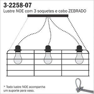 Lustre Aramado NOE - 3 Cabos Zebra