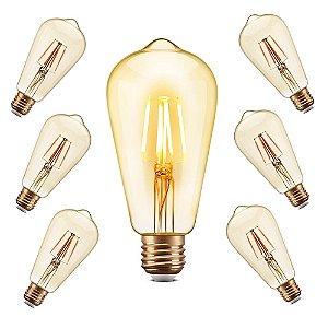 Kit 7 lâmpadas - Lâmpada Filamento LED Retrô - ST64 - BIVOLT