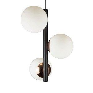 Lustre Pendente Figo com 3 Globos Esfera de Vidro - Preto/Cobre