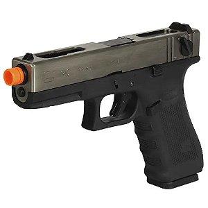 Pistola de Airsoft GBB WE Glock 18C GEN4 Aço Escovado Cal6mm