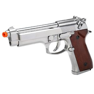Pistola de Airsoft GBB SRC M92 GB-0709W Edição Especial Cromada Cal 6mm