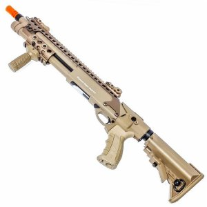 Shotgun de Airsoft Spring G&P M870 Ris PTE Tan Cal 6mm