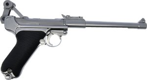 Pistola de Airsoft GBB WE Luger P08 Cano Longo Cal .6mm