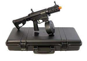 Kit Rifle de Airsoft AEG  Ares  M45 Class Black   Cal. 6mm com 2 Mags Maleta e Drum