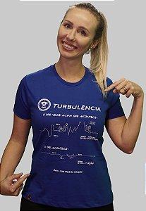 Camiseta FEMININA Baby Look Turbulência AZUL