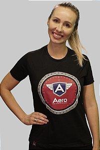 Camiseta FEMININA Baby Look Logo AERO Preta