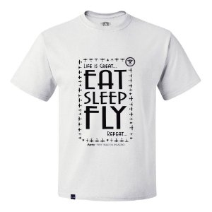 CAMISETA AERO - EAT SLEEP FLY - BRANCA