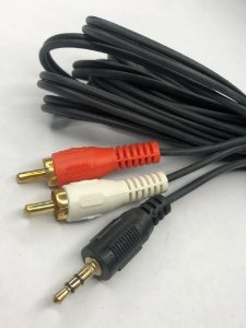 Cabo P2 Stereo x 2 RCA (Vermelho e Branco) 5 Mts