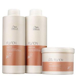 Kit fusion litro Wella - Shampoo e condicionador 1L e mascara 500ml