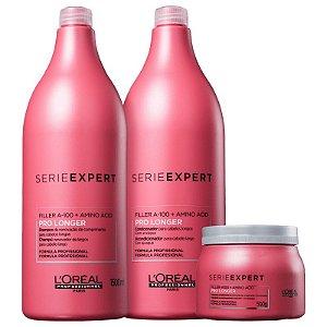Kit Pro Longer L'oreal - Shampoo 1500ml Condicionador 1500ml e Mascara 500g