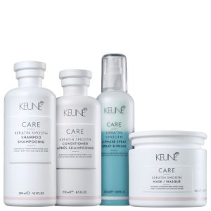 Kit Keratin Smooth Keune Completo - Shampoo, condicionador, mascara e leave-in bifasico