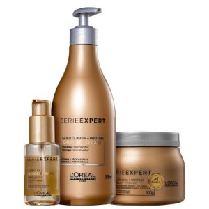 Kit Absolut Repair Gold Quinoa - Shampoo 500ml Mascara 500g e Oleo reparador 50ml