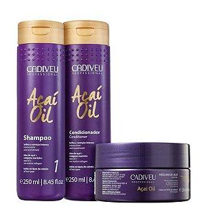 Kit Açai Oil Cadiveu - Shampoo 250ml, Condicionador 250ml e Mascara 200g