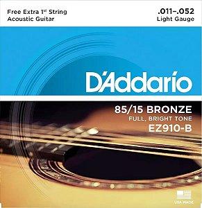 Encordoamento Violão Aço EZ910-B 85/15 Light .011 .052 Corda Extra PL011
