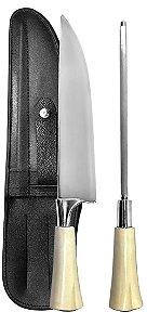 Faca Inox 2308 CSO com Chaira e Bainha 08 polegadas