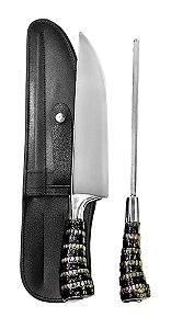 Faca Inox 2310 CSRT com Chaira e Bainha 10 polegadas