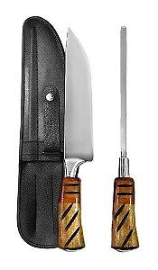Faca Inox Exclusive 2308 com Chaira e Bainha 08 polegadas