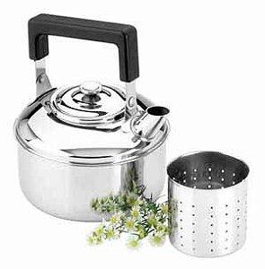 Chaleira Inox 01 Litro para chá com coador