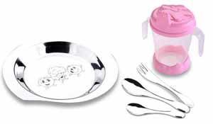 Kit Infantil 5 peças Copo Rosa ref. 5715-400 -