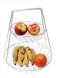 Fruteira de Mesa Dupla Aço Cr.