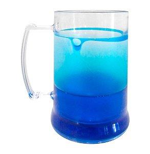 Caneca Injetada Transparente com Gel Azul 340 ml -