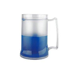 Caneca Injetada Transp/Gel Azul 465 ml