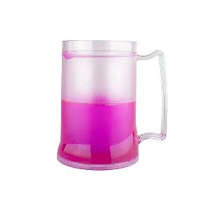 Caneca Injetada Transp/Gel Rosa 465 ml