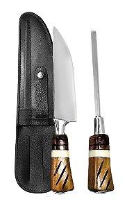 Faca Inox Exclusive 2306 com Chaira e Bainha 06 polegadas