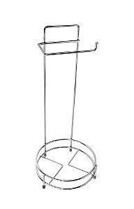 Suporte para Papel Higiênico e Lixeira Aço Cromado. Altura 50 cm - Ø 20 cm