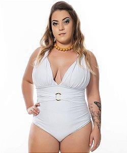Maiô Drapeado Cinto Plus Size