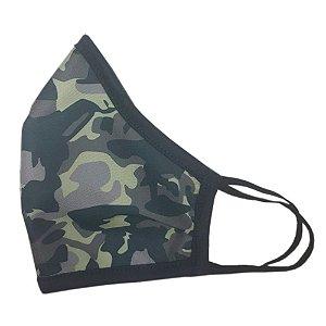 Máscara de Tecido com Camuflagem Militar - Modelo Ninja de Elástico e Ajuste Nasal