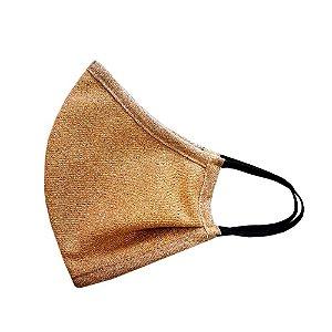 Máscara com Tecido Lurex Dourada - Tripla Camada