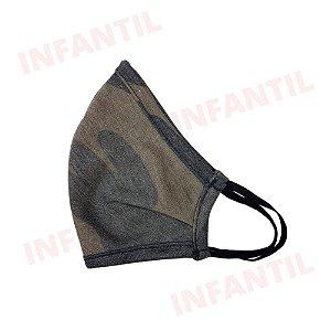 Mascara de Tecido Anatômica Camuflado Militar de Elástico - Infantil